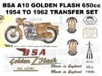 BSA A10 Golden Flash 1954 to 1962 Transfer Decal Set Red Gold Transfer
